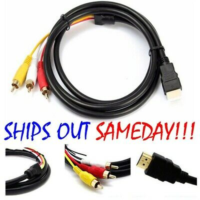 US 5Ft HDMI To 3-RCA Video Audio AV Component Converter Adapter Cable For HDTV