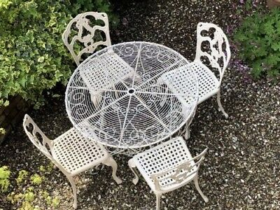 Vintage Style Garden Table & 4 Chairs (Antique White) • Wrought Iron