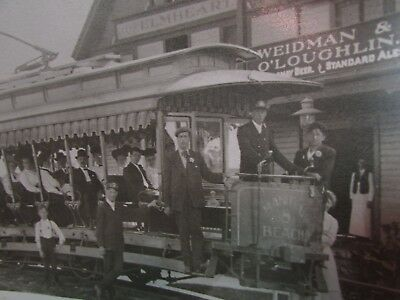 VTG. Turn of the Century Photo~Manitou Beach Trolley, Rochester NY~Beer Signs