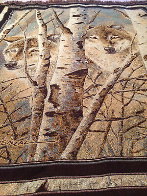 Artist David Wenzal.wolf.wolves.birch Trees.afghan.throw.acrylic.made Usa.