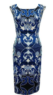 Phase Eight / 8 Orient dress in white and blue Size 12 Worn once
