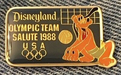 Pluto Disney Pin~Retired~Disneyland Team Salute~Volleyball~Olympic Seoul~1988