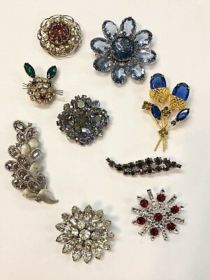 Beautiful Vintage Lot of 9 Unsigned Estate Jewelry Rhinestone Brooches