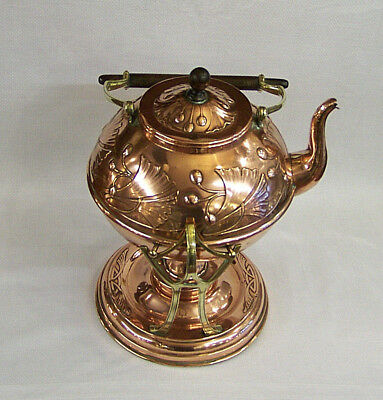 Antique Carl Deffner Arts & Crafts Jugendstil Copper & Brass Tea Kettle & Stand.