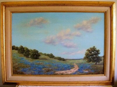 Superb Original Texas Hill Country Bluebonnet Landscape Oil Painting Signed