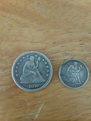 1876 Seated Liberty Quarter And 1875 Dime,love Tokens,90% Silver