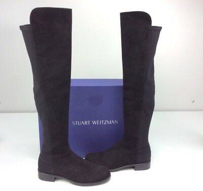 86f79b32520 STUART WEITZMAN 5050 Over the Knee Black Suede Leather Boots Size 6.5 M OTK