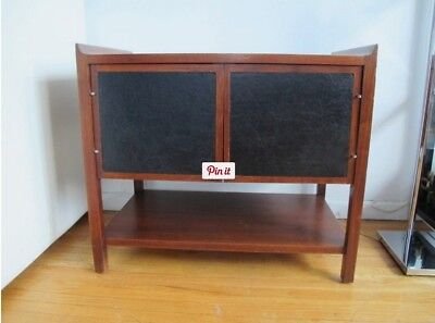 Vintage Mid Century Danish Modern Walnut & Leather Compact Cabinet