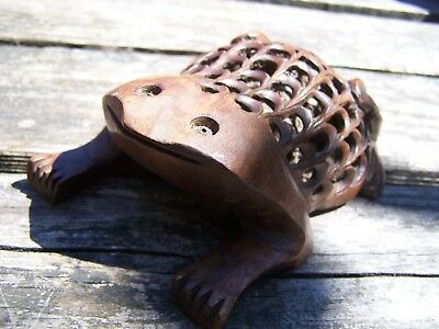 Antique Vintage German Black Forest Frog with baby frog inside
