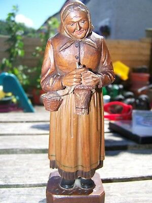 Antique Vintage German Black Forest Hand carved wooden figure knitting old lady