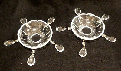 Vintage Pair of Crystal Bobeche with 5 Prisms Each