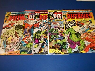 Defenders #13,32,33,35 Bronze age lot of 4 Low grade No Marvel Value Stamps