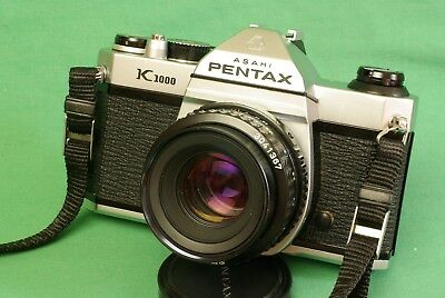 PENTAX K1000 35mm Film Camera SMC-A 50mm f/2.0 lens Student Beginner Excellent+