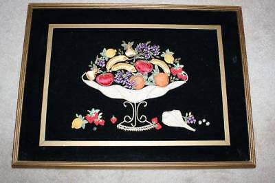 Framed 18 X 24 Mid Century Modern Fruit Bowl Applique On Velvet Sparkling