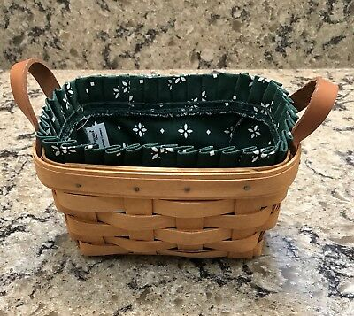 Longaberger 1995 Small Tea Basket with Fabric Liner and Leather Handles