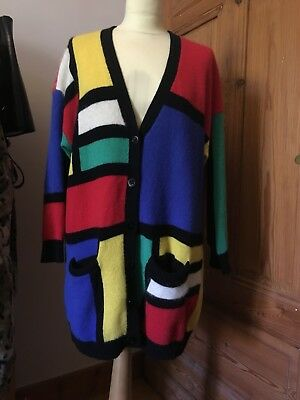 BETTY BARCLAY Vintage Cardigan Strickjacke Angora Lammwolle Bunt 70s Gr. XL