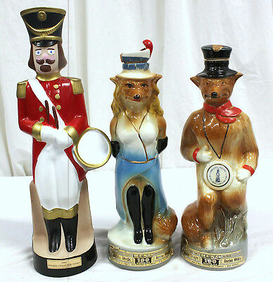 Lot of 3  Whiskey Liquor Alcohol, Beverage Decanters, Fox Couple and Soldier.
