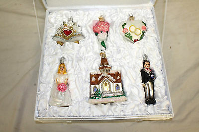 Old World Christmas, Marriage, Bride, Chapel, Groom, Ornaments With Glitter.