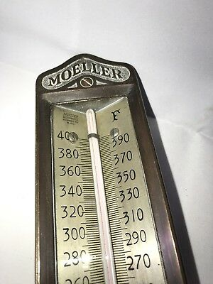 Vtg Large Moeller Thermometer Industrial Decor Steampunk Brass Richmond Hill NY