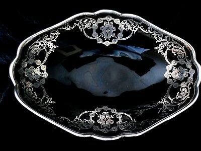 Vintage Art Deco Black Glass Footed Centerpiece Bowl W/ Sterling Silver Overlay