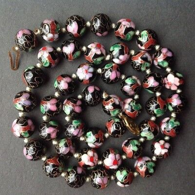 """Vintage Chinese Porcelain hand-knotted Bead Necklace 25.5"""" Black floral"""
