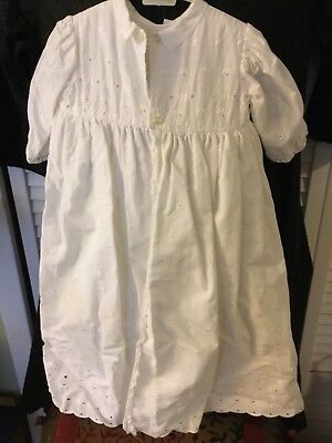 Vintage baby or doll '60s Baptism Christening gown Cotton from France w/bonnet!