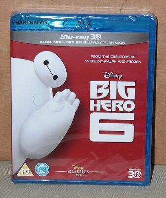 Disney's Big Hero 6 3D  (Blu-ray 2D + 3D, 2015, Region Free) Brand New, Sealed