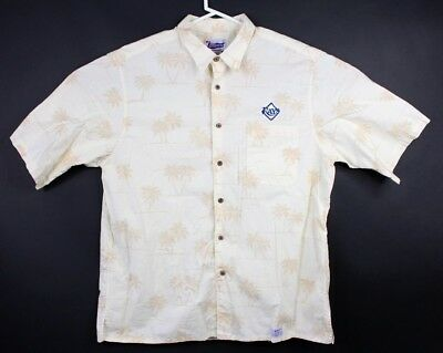 Reyn Spooner Mens XXL 2xl Tampa Rays Button Shirt Hawaiian Palm Trees Baseball