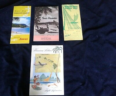 Hawaiian Islands Kona Inn Hawaiian Airlines United Airlines route map lot of 4