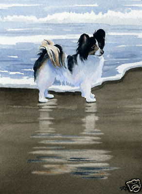 PAPILLON at the Beach DOG Watercolor 8 x 10 Art Print Signed by Artist DJR