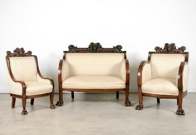 Rare 3pc Victorian Attributed To Karpen Of Chicago Rams Head Parlor Set