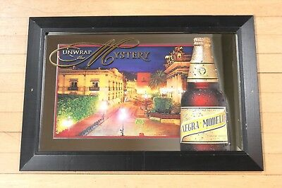 """Negra Modelo Beer Mirror """"Unwrap the Mystery"""" 26""""x18"""" Bar Ad for Man Cave"""
