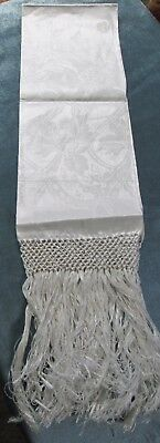 Antique Linen Damask Fringed Show Towel ART NOUVEAU Florals Never Used