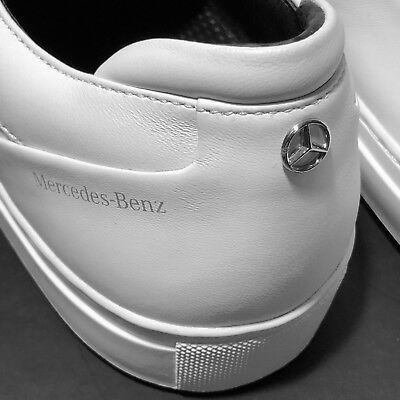 a061ac7840d HUGO BOSS Mercedes Benz White Textured Leather Fashion Tennis Sneakers  Oxfords