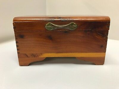 Vintage Miniature Cedar Wood Trunk Chest Trinket Box