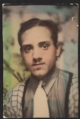 HANDSOME HIPSTER FASHION BLACK MAN ~ 1930s 5x7 TINTED PHOTOBOOTH PHOTO