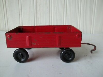 Vintage ERTL Stamped Steel Farm Wagon Red with Black Wheels Made in USA