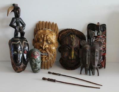 Lot of 6x Tribal African Ceremonial Masks Maasai Warrior Rite of Passage Beaded