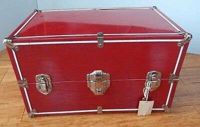 Vintage Worcester J&S Metal Red Doll Steamer Trunk with Original Key