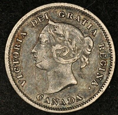1881-H Canada Silver 5 Cents Nice Details Deep Toning