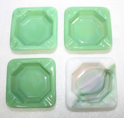 """4 VINTAGE AKRO AGATE 3"""" x 3"""" ART DECO ASHTRAYS SIGNED """"MADE IN U.S.A."""""""