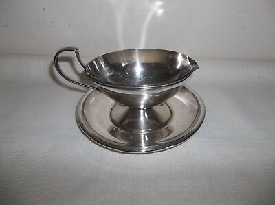 BRS Nichel Silver Small Gravy/Sauceboat with Tray
