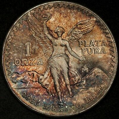 1986 Mexico Silver Onza Multi-Color 2-Sided Toning