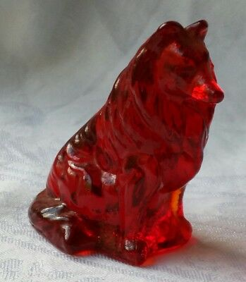 Vintage Dog Figurine Retro Collie Marked M Red Collectable Glass Unique #1