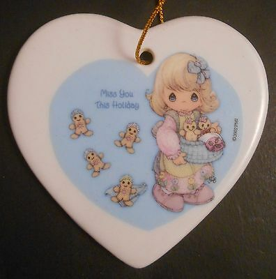 Precious Moments Porcelain Heart Double Sided Christmas Ornament 2001 Cookies