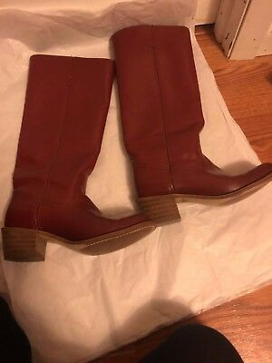 Vintage FRYE American Classics Maroon Leather Pull On Campus Boots Sz 8b Womens