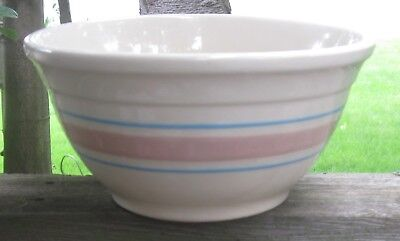 1968 McCoy Pottery Ovenproof USA Pink & Blue Banded #8 Mixing Bowl Excellent