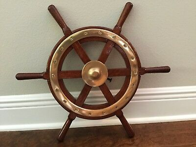 """Vintage 21 """" Solid Mahogany and brass ships wheel"""