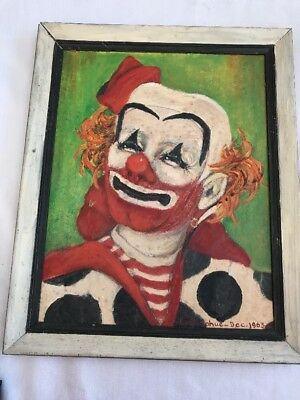 Vintage Original Clown Painting Onboard Signed B. Donahue 1963