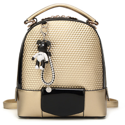 Gold Backpack Travel Bag Faux Leather Multi Carry Style Diamond Pattern Surface